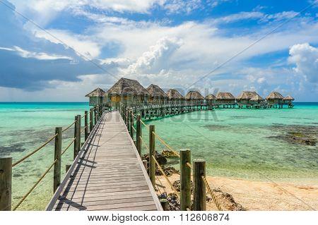Overwater bungalows in a beach in Tikehau, Tahiti