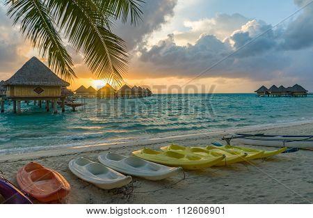 Sunset in a beach in Bora Bora