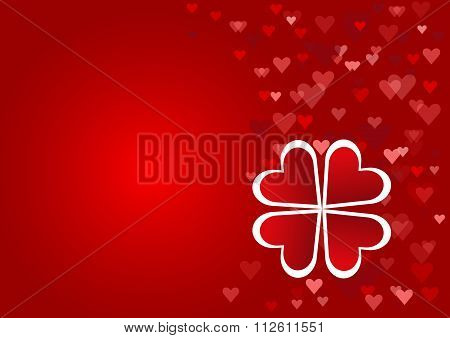 Cloverleaf made from red hearts