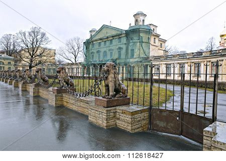 Several Statues Of Bronze Lions Along The Fence In St. Petersburg