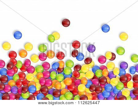 Sweets of candies with a white background