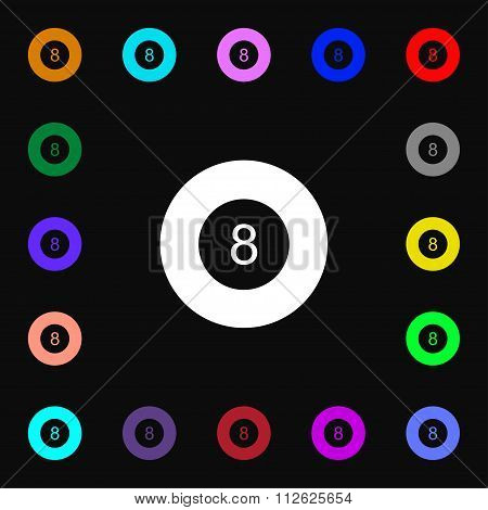 Eightball, Billiards  Icon Sign. Lots Of Colorful Symbols For Your Design.
