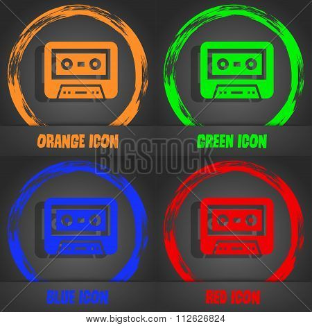 Audiocassette Icon. Fashionable Modern Style. In The Orange, Green, Blue, Red Design.