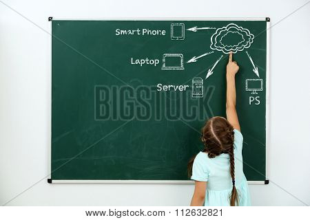 Little girl drawing cloud network on the chalkboard