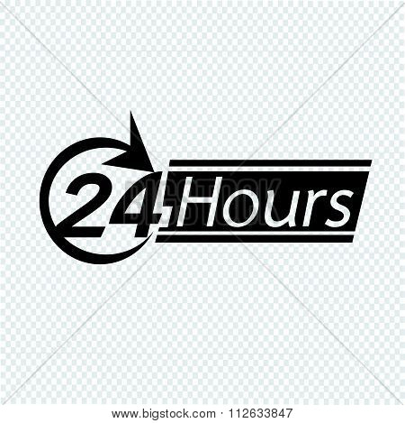 24 Hours Logo Icon