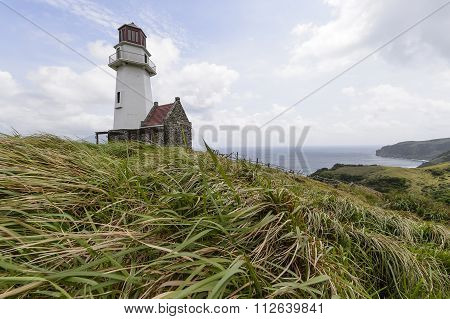 Beautiful Landscape View Of Tayid Lighthouse In Mahatao Located At Batanes Island, Philipines.