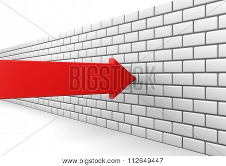Red Arrow Crashes Into A Brick Wall
