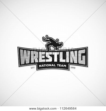 Freestyle Wrestling logo, sign, illustration.