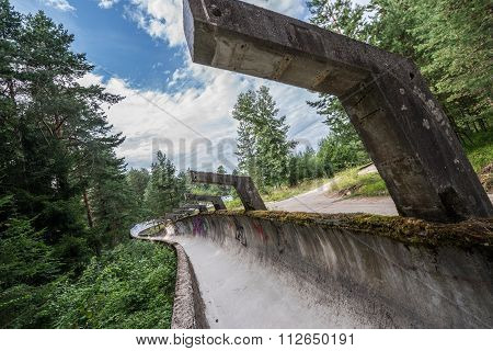 damaged Bobsleigh and Luge Track in Sarajevo poster