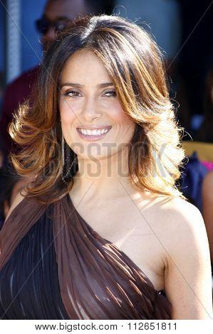 WESTWOOD, CALIFORNIA - October 23, 2011. Salma Hayek at the Los Angeles premiere of