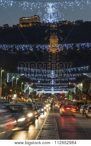 the Bahai gardens in The German Colony decorated for the holidays, in Haifa, Israel