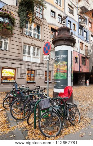 Bicycles Near Hundertwasser House, Vienna