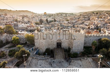Skyline Of The Old City In Jerusalem From North, Israel.