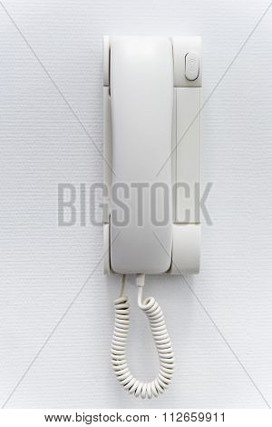 White Plastic House Intercom On The Wall