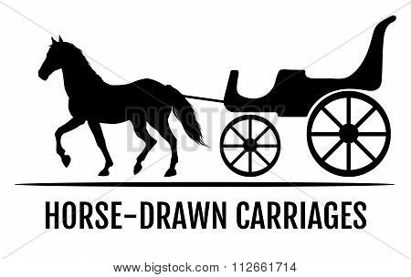 Horse drawn carriage. Black silhouettes of horse and carriage. Vector illustration.