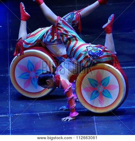 ST. PETERSBURG, RUSSIA - DECEMBER 26, 2015: Jinan acrobatic troupe performing in the Sibur Arena. Founded in 1958, this circus group is one of the best in China