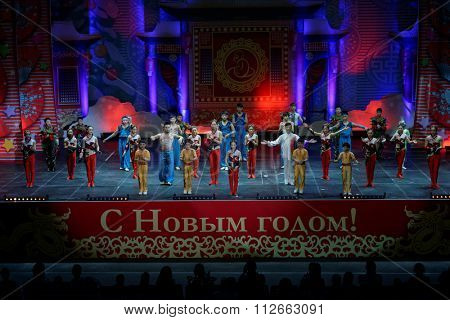 ST. PETERSBURG, RUSSIA - DECEMBER 26, 2015: Jinan acrobatic troupe bowing after performance in the Sibur Arena. Founded in 1958, this circus group is one of the best in China
