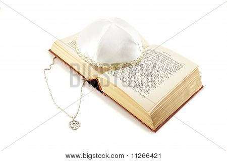 Jewish Holiday Still Life With Torah,david Star And Kippah On White Background