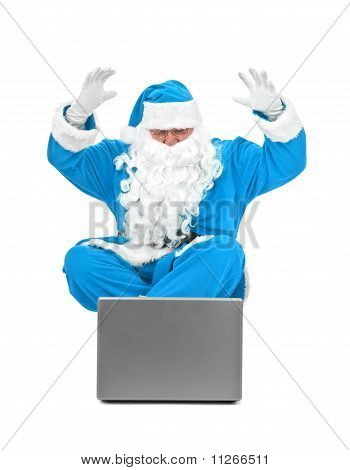 Surprised Blue Santa Claus