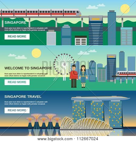 Singapore Culture 3 Flat Banners Set