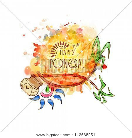 Elegant greeting card with sugarcanes and mud pot for South Indian harvesting festival, Happy Pongal celebration.