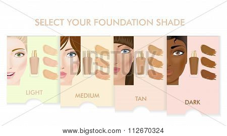 Foundation cream colors set.