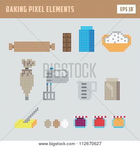 Pixel baking elements, isolated game vector icon set