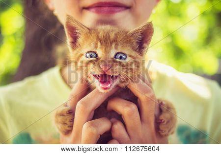 Smiling little girl holding small kitten in hands outdoor