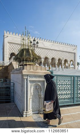 Muslim Visiting The Mausoleum Of Mohammed V And And Hassan Ii In Rabat.
