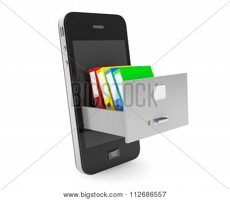 Data Storage Concept. Achive Office Binders In Cabinet Inside Mobile Phone