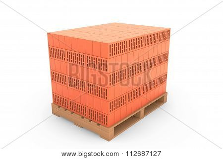 Construction Concept. Ceramic Bricks Over Euro Pallet
