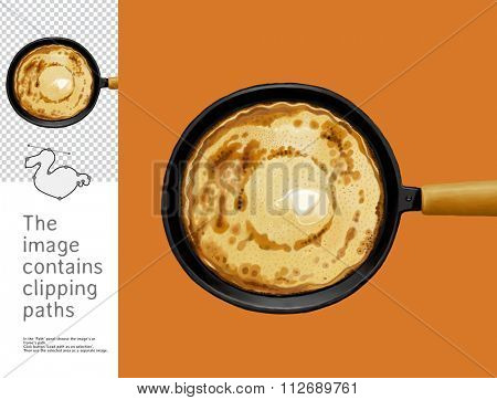 The illustration of the frying pan with a pancake on it.  A part of Dodo collection - a set of educational cards for children. The image has clipping paths and you can cut it from the background.