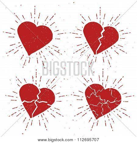 Set of Vintage Broken Hearts with sunbursts.