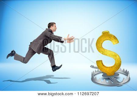 Businessman running forward with dollar sign