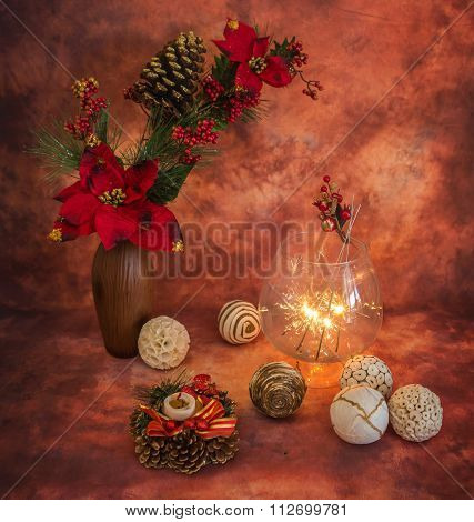 Christmas Still Life With Sparklers And  Ornaments,
