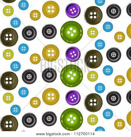 Vector seamless pattern. Bright colors buttons on white background. Ideal for textile, wallpaper, wrapping, web pages and your design.