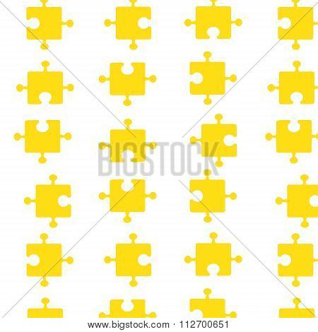 Seamless pattern of bright yellow pazzle parts. Vector