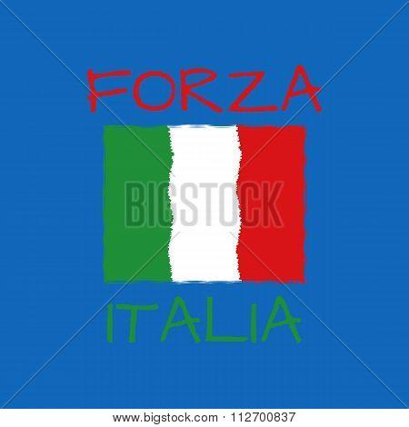forza italia typography, t-shirt graphics