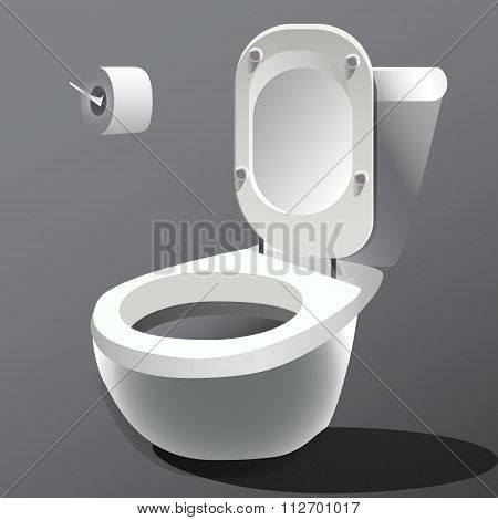 Toilet bowl isolated on white photo-realistic vector.