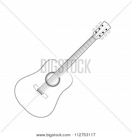 Vector illustration of black outlines guitar