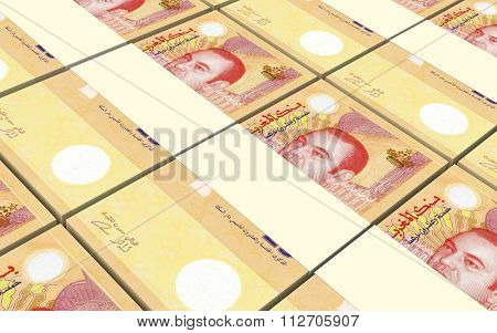Moroccan dirhams bills stacks background. Computer generated 3D photo rendering.
