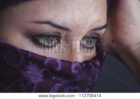 burka Beautiful arabic woman with traditional burqa veil
