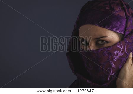 asian Beautiful arabic woman with traditional burqa veil