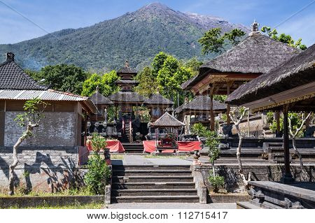 Pura Besakih Balinese Temple With Mount Agung In The  Background