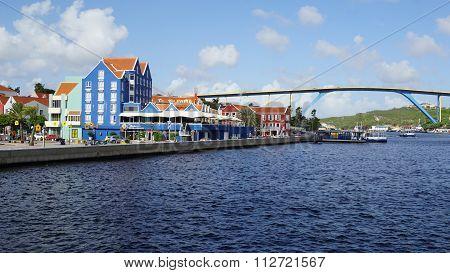 Queen Juliana bridge in Willemstad, Curacao