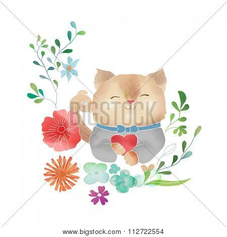 Vector Watercolor Floral background With Hand Painted cat. Watercolor valentine card. Text Frame.  Template for wedding, valentine day, mothers day, birthday, invitations.