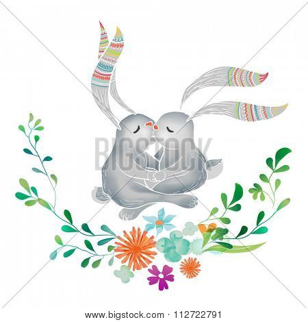 Vector Watercolor Floral background With Hand Painted kissing bunny. Watercolor valentine card. Text Frame.  Template for wedding, valentine day, mothers day, birthday, invitations.