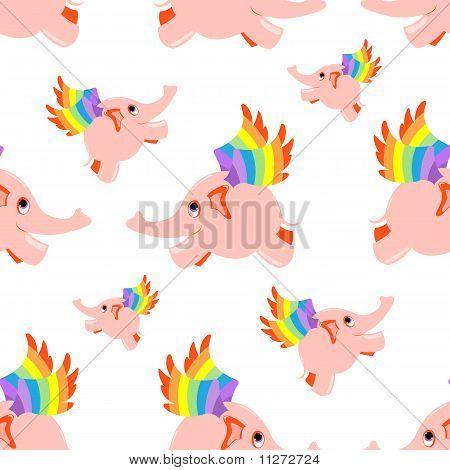 Seamless pattern pink flying elephant.