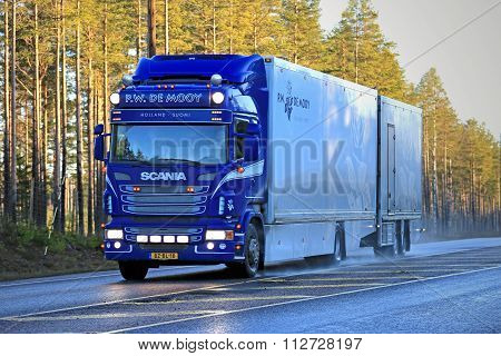 Blue Scania Flower Transport Truck On The Road