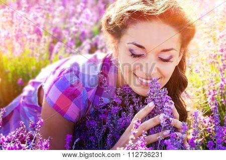 Little girl on lavender field